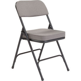 "3212 National Public Seating Steel Folding Chair - 2"" Fabric Seat - Double Brace - Gray"