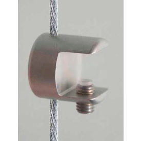 "Clamp Support for 3/8"" Glass Shelves & 3mm Cables, Satin Chrome"