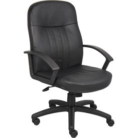 O-I8106-LF Executive Office Chair with Arms - Leather - High Back - Black
