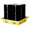 5400-YE-D ENPAC; 5400-YE-D 4-Drum Poly-Spillpallet; Poly-Slim-Line; with Drain 66 Gallon Cap.