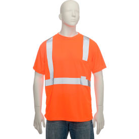 LUX-SSETP2B-OS Standard Wicking T-Shirt With Pocket Class 2 Hi-Vis Orange Small