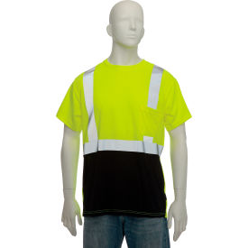 LUX-SSETPBK-Y3X OccuNomix Class 2 Classic Black Bottom T-Shirt with Pocket, Yellow, 3XL