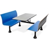 "1006W-Blue OFM Retro Bench Table with End Support, 24"" Stainless Steel Top, Blue Seats"