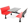 "1006W-Red OFM Retro Bench Table with End Support, 24"" Stainless Steel Top, Red Seats"