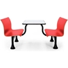 "1007M-Red OFM Retro Bench Table with Center Support, 30"" Stainless Steel Top, Red Seats"