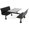 "1007W-BLK OFM Retro Bench Table with End Support, 30"" Stainless Steel Top, Black Seats"