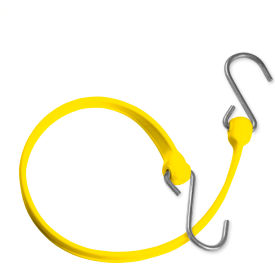 "the better bungee™ bbs24gy 24"" bungee strap with galvanized triangle s hook - yellow The Better Bungee™ BBS24GY 24"" Bungee Strap with Galvanized Triangle S Hook - Yellow"