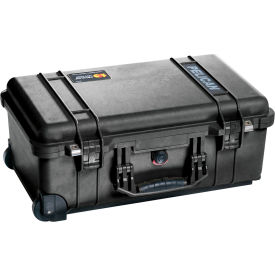 "1510-000-110 Pelican 1510 Watertight Carry-On Wheeled Case With Foam 19-3/4"" x 11"" x 7-5/8"", Black"
