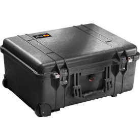 "1560-000-110 Pelican 1560 Watertight Wheeled Large Case With Foam 22-1/16"" x 17-15/16"" x 10-7/16"", Black"