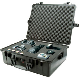 "1600-000-110 Pelican 1600 Watertight Large Case With Foam 24-3/8"" x 19-3/8"" x 8-13/16"", Black"