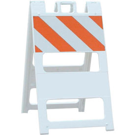 100-WT12B8HI-P All Plastic Maintenance Free Type II Traffic Barricade, White, Foldable