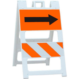 100-WT12FAB8HI-P All Plastic Maintenance Free Type II Traffic Barricade W/ Directional Arrow, White