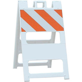 100-WT12HIP All Plastic Maintenance Free Type I Traffic Barricade, White, Foldable