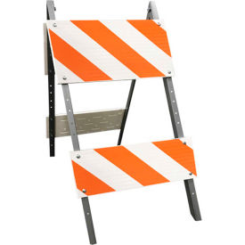 105G-T12FAB8HIP Galvanized Steel Leg & Plastic Boards Type 2 Traffic Barricade W/ Directional Arrow