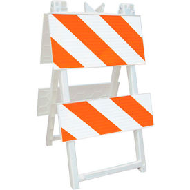 110-WT12B8HIP Economical All Plastic Maintenance Free Type II Traffic Barricade, White, Foldable