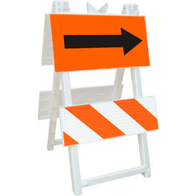 110-WT12FAB8HIP Economic All Plastic Maintenance Free Type 2 Traffic Barricade W/ Directional Arrow