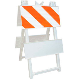 110-WT12HIP Economical All Plastic Maintenance Free Type I Traffic Barricade, White, Foldable