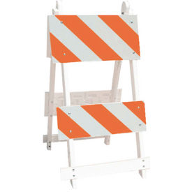 111-T12-C8-HIP All Plastic Maintenance Free Type II Traffic Barricade, White, Foldable
