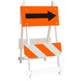 111-T12-FA-C8HIP All Plastic Maintenance Free Type II Traffic Barricade W/ Directional Arrow, White