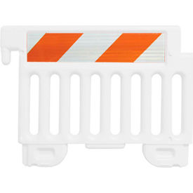 "CSP-SW38-W-EGFR Strongwall ADA Compliant Plastic Barricade, White, 38""H, Engineer Grade Sheeting"