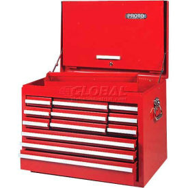 "J542719-12RD-D Proto J542719-12RD-D 540S 27""W X 18""D X 19""H 12 Drawer Red Top Chest with Drop Front"