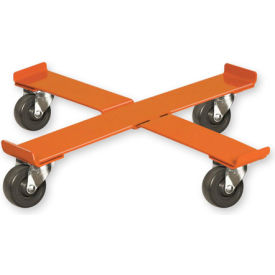 "pucel™ 75 cross drum dolly with steel casters - 24-1/2"" orange"