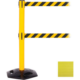 "weathermaster twin retractable belt barrier, 40"" yellow post, 11 yellow belt"