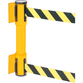 wallpro twin yellow post retracting belt barrier, 7.5 ft. yellow/black belt