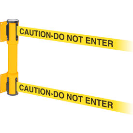 wallpro twin yellow post retracting belt barrier, 7.5 ft. yellow caution belt