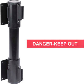 wallpro twin black post retracting belt barrier, 13 ft. red danger belt