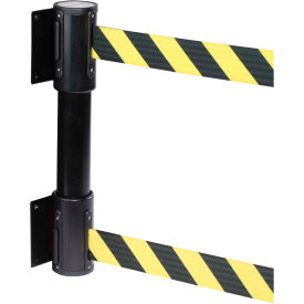 wallpro twin black post retracting belt barrier, 13 ft. yellow/black belt