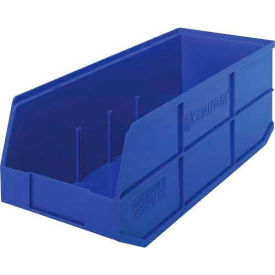 "SSB483BL Quantum Plastic Stackable Shelf Bin SSB483 8-1/4""W x 20-1/2""D x 7""H, Blue"