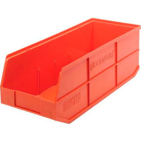 "SSB483OR Quantum Plastic Stackable Shelf Bin SSB483 8-1/4""W x 20-1/2""D x 7""H, Orange"