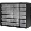 "10124 Akro-Mils Plastic Drawer Parts Cabinet 10124 - 20""W x 6-3/8""D x 15-13/16""H, Black, 24 Drawers"