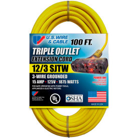 76100 U.S. Wire 76100 100 Ft. 12/3 SJTW-A Pow-R-Block Extension, Round, Yellow, 300V, Illuminated Plug