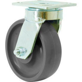 "rwm casters 6"" rubber swivel caster on aluminum with face contact brake - 48-rab-0620-s-eht-icwb RWM Casters 6"" Rubber Swivel Caster on Aluminum with Face Contact Brake - 48-RAB-0620-S-EHT-ICWB"