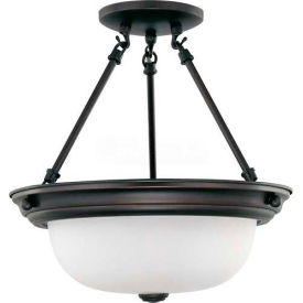 "nuvo 60/3149, 2 light-ceiling-semi flush, frosted white, mahogany bronze, 13.25""w x 14""h"
