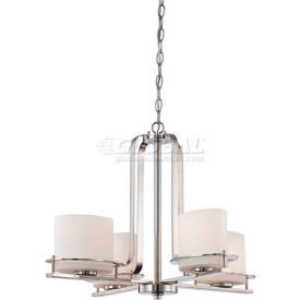 "nuvo 60/5104 loren-4 light chandelier, etched opal, polished nickel, 26.25""w x 18.75""h"