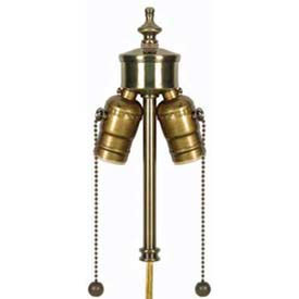 satco 80-1763 2 light pull chain cluster w/ solid polished brass socket