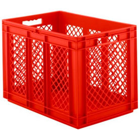 "EF6421.RD1 SSI Schaefer Euro-Fix Solid Base/Mesh Sides Container EF6421 - 24"" x 16"" x 17"", Red"