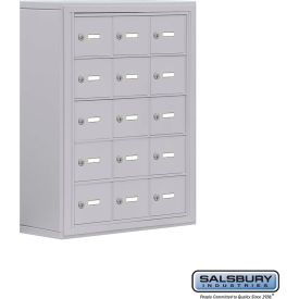 "19058-15ASK Cell Phone Storage Locker, Surface Mounted, 5 Door High, 8""D, Keyed Locks, 15 A Doors, Aluminum"