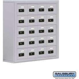 "19058-20ASC Cell Phone Storage Locker, Surface Mounted, 5 Door High, 8""D, Combo Locks, 20 A Doors, Aluminum"