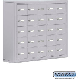 "19058-25ASK Cell Phone Storage Locker, Surface Mounted, 5 Door High, 8""D, Keyed Locks, 25 A Doors, Aluminum"