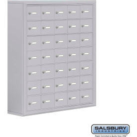"19078-35ASK Cell Phone Storage Locker, Surface Mounted, 7 Door High, 8""D, Keyed Locks, 35 A Doors, Aluminum"