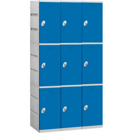 "93368BL-U Salsbury Plastic Locker, Triple Tier, 3 Wide, 12-3/4""W x 18""D x 24-5/16""H, Blue, Unassembled"