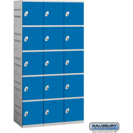 "95368BL-U Salsbury Plastic Locker, Five Tier, 3 Wide, 12-3/4""W x 18""D x 14-5/8""H, Blue, Unassembled"