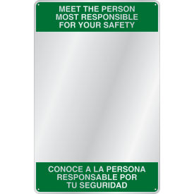 "se-kure™ acrylic bi-lingual safety message mirror, indoor, 23""x15"", ""meet the person"""
