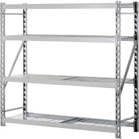 "TP722472W4 Muscle Rack TP722472W4, Tread Plate Welded Rack, 77""W x 24""D x 72""H 4-Shelf w/Wire Deck"