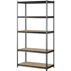 "UR482472PB5P-SV Muscle Rack UR482472PB5P-SV, Z-Beam Boltless Shelving, 48""W x 24""D x 72""H, 5-Shelf w/Wood Deck"