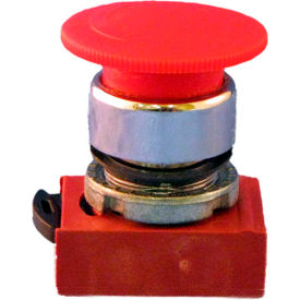 N5CER4RN, 22mm Mushroom Head Pushbutton, chrome, turn to reset, 40mm head, red, non-illuminated.